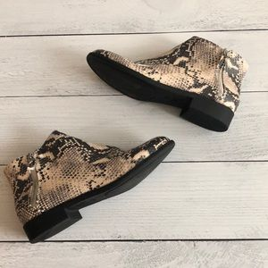 Shoes - Ankle zip bootie snake print size 10
